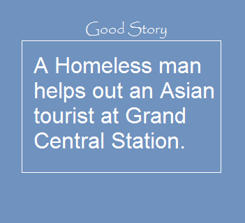 Homeless man helps asian woman