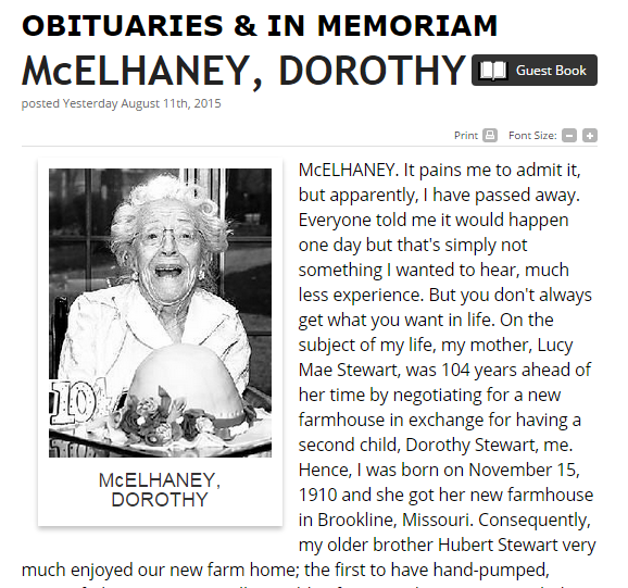 Obituary Dorothy McElhaney