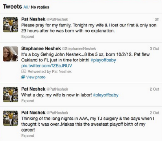 Pat Neshek's Twitter Feed after he and his wife lost their baby.